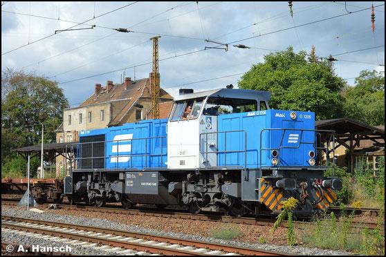 """Steht man in Leipzig-Wiederitzsch kann man sich auf eine """"MaK-Lok"""" eigentlich immer verlassen. Auch am 2. September 2020 war dem so. 275 842-3 hatte mit einem Wagen am Haken keine Mühe"""