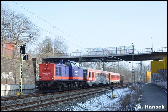 Hinter 745 701-3 verbirgt sich die ehem. DR 112 260-5. Am 9. Februar 2018 hat sie 629 344/628 344 als Überführung (Dgs 44387) nach Tschechien am Haken und ist hier in der Stadtlage von Chemnitz, nahe Hbf. zu sehen