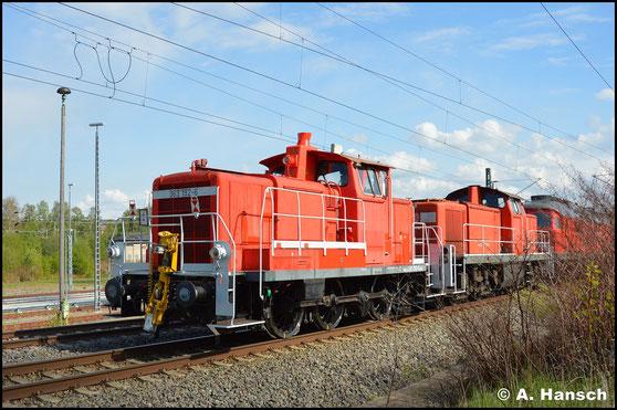 Am Schluss eines Lokzuges von Cottbus nach Nürnberg konnte ich am 5. Mai 2020 363 192-6 in Chemnitz-Furth fotografieren