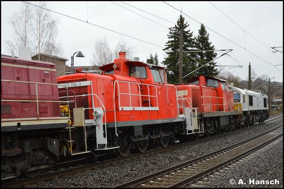 363 706-3 ist am 11. März 2020 in einem Lokzug von Dresden nach Nürnberg unterwegs. Am Hp Chemnitz-Hilbersdorf entstand ein Bild der Lok