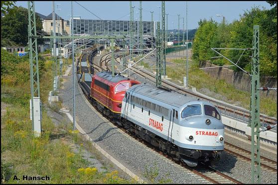 Ein kleines Highlight zum Montag: 227 008-0 (Nohab MY 1149) und Vorspannlok 227 007-2 (Nohab MY 1147) durchfahren am 10. August 2015 mit leerem Langschienenwagenzug Chemnitz Hbf. in Richtung Zwickau