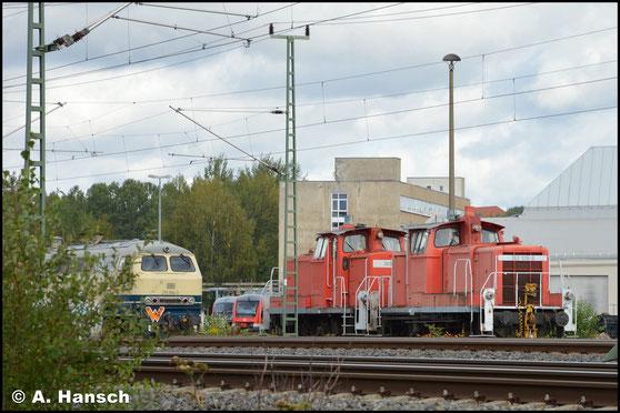 362 526-6 steht mit 363 124-9 am 28. September 2019 am AW Chemnitz. Beide Loks werden vermutlich im Stillstandsmanagement abgestellt