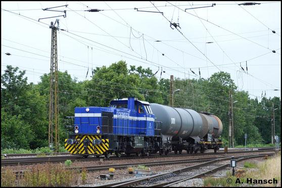 275 806-8 (InfraLeuna 206) hat am 26. Juni 2017 in Leipzig-Wiederitzsch keine Mühe mit ihren 2 Kesselwagen