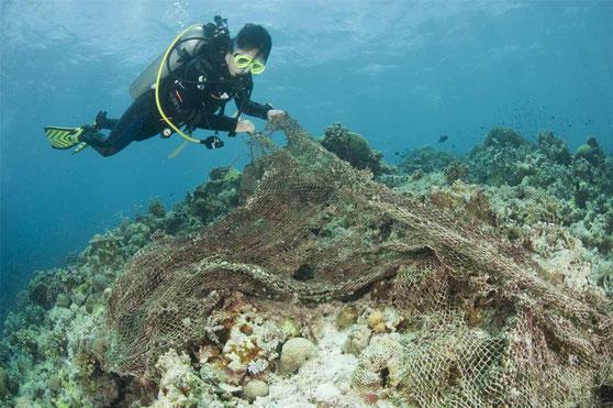 Alte Fischernetze aus Kunststoff sind eine tödliche Gefahr für Meeresbewohner. Copyright © WWF