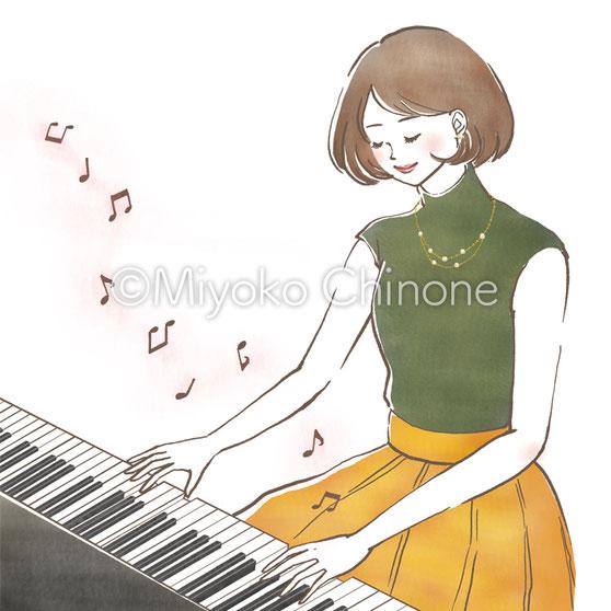 女性 ピアノ イラスト