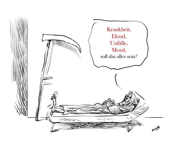 Cartoon von Mock zum Thema Tod Elend Krankheit Psychoanalyse