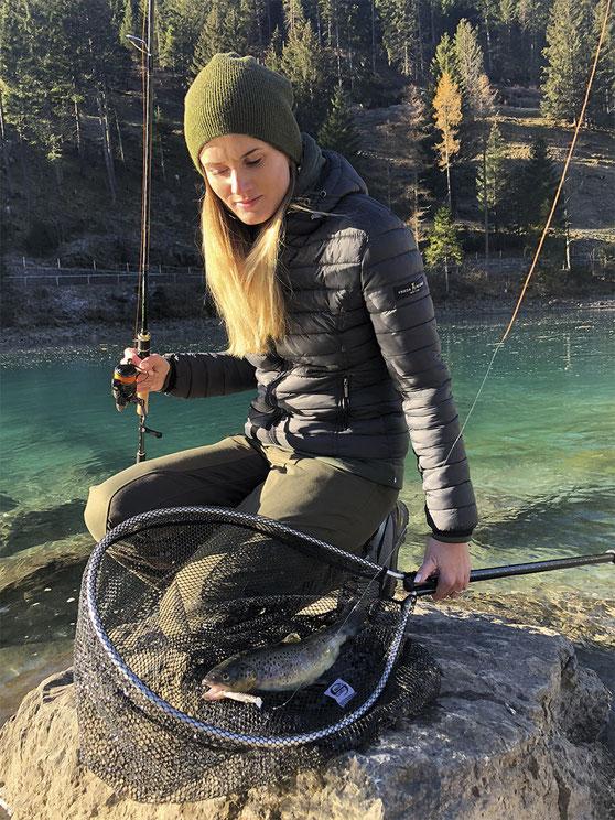 Angelfrau Fischerinn Frauen-Angelzubehör Frauenpower