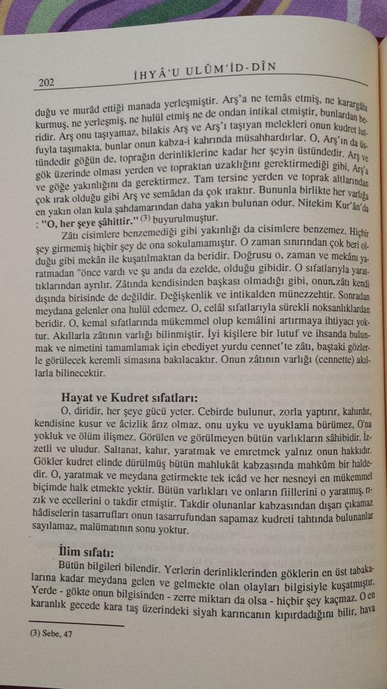 [Îmam Ghazâlî, Îhyâ-yı Ulûmîddin [Allah'ın sıfatları] cilt 1, s. 202]