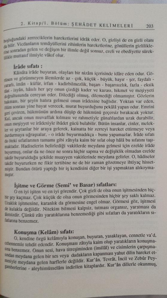 [Îmam Ghazâlî, Îhyâ-yı Ulûmîddin [Allah'ın sıfatları] cilt 1, s. 203]