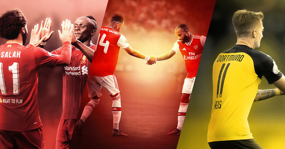Marco Reus et Paco Alcácer - Mohamed Salah et Sadio Mané - Pierre-Emerick Aubameyang et Alexandre Lacazette - Football Design #2