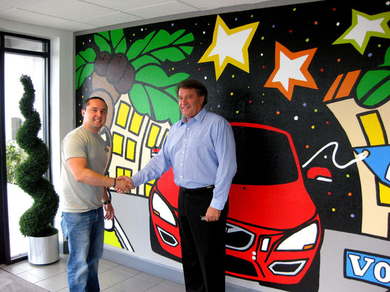 Mural at DEEL Volvo with Dan O'malley, President of DEEL VOLVO/VW/SAAB