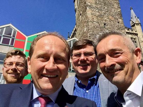 Marc Naether, Alexander Graf Lambsdorff, Hans Stein u. Dr. Werner Pfeil von der AG Europa u. grenzüberschreitende Zusammenarbeit bei einem Treffen in Aachen