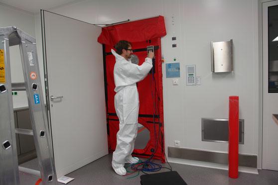 Reinräume messen BlowerDoor-Test Spezialraum Sondermessung