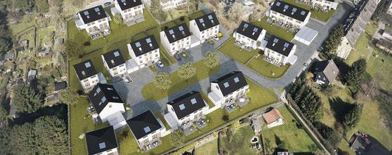 Wohnungssiedlung Velbert Einfamilienhäuser Doppelhäuser Reihenhäuser BlowerDoor Messungen