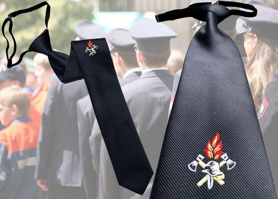 """Dunkelblaue Feuerwehrkrawatte mit Logo """"Helm, gekreuzte Beile und Flammen"""" von Feld Textil GmbH"""