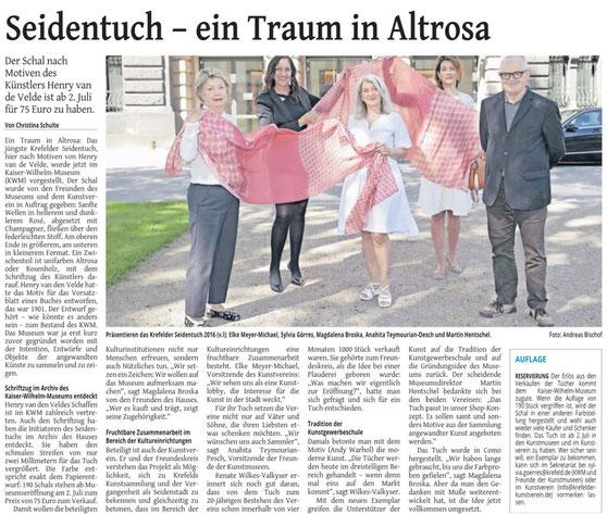 Pressebericht Seidentuch Kaiser Wilhelm Museum Feld Krefeld
