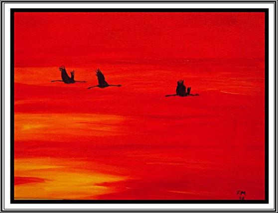 Ölgemälde, Kraniche über dem Darss, Leinwand auf Keilrahmen 40 x 30 cm