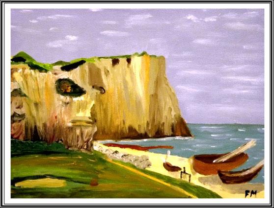 Ölgemälde, Steilküste, Leinwand auf Keilrahmen, 30 x24 cm