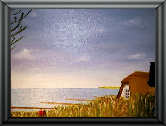 Ölgemälde, Haus Windflüchter - Ahrenshoop (Frühling) 30x 24 cm