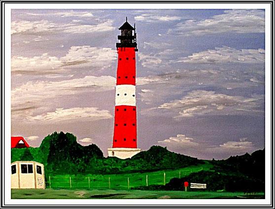Ölgemälde, Leuchtturm Hörnum/Sylt, Leinwand auf Keilrahmen, 40 x30 cm