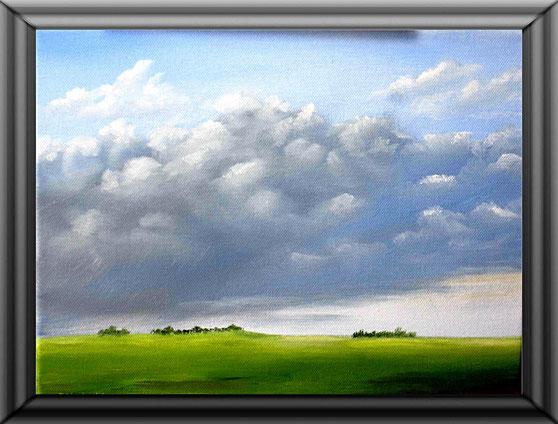 Ölgemälde, Norddeutsche Landschaft, Leinwand auf Keilrahmen 30 x 24 cm