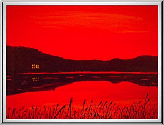 Ölgemälde, Abendstimmumg am Bodden, Leinwand auf Keilrahmen, 40 x30 cm