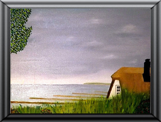 Ölgemälde, Haus Windflüchter - Ahrenshoop (Sommer), 30x24 cm
