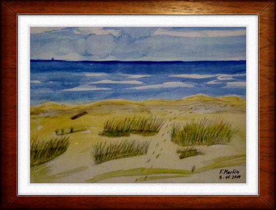 Am Strand Aquarell 42x30 cm