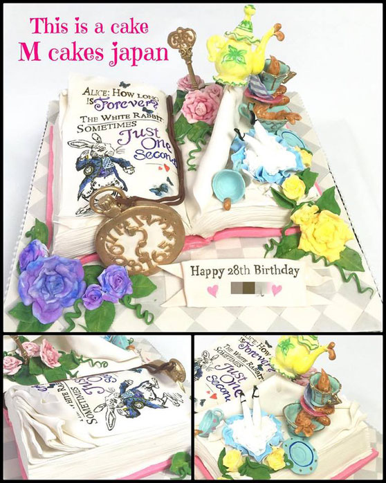 #alicecake #aliceinwonderland #alice #aliceteaparty #book #bookcake #cakedesign #アリスの世界 #不思議の国のアリス #イメージ #アリスインワンダーランド #本型ケーキ #誕生日ケーキ #キャラクターケーキ #fondantcake #fondantfigure #fondant #cakedecorating