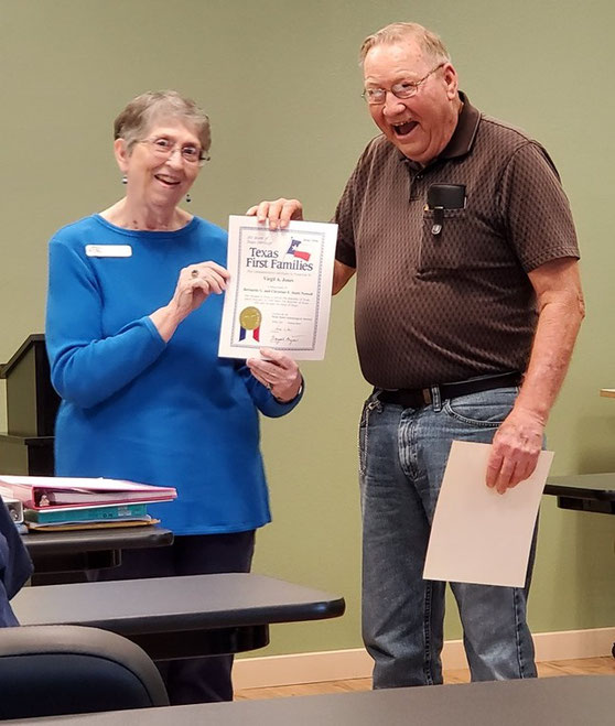 "Phyllis Brown presents a ""Texas First Families"" heritage certificate to Virgil Jones, June 2019"