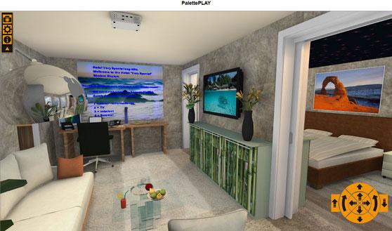 Virtueller Raum begehbar. Bitte ins Bild klicken  - click here