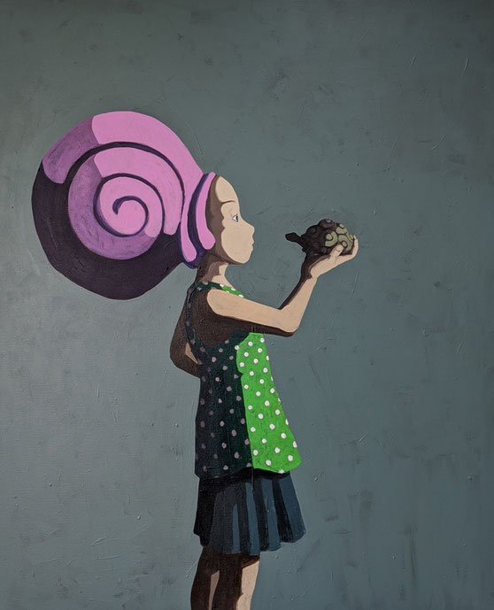 the snail and the turtle - Acryl auf Leinwand, 120x100cm, 2020