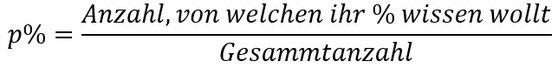Formel für die Berechnung des Prozentsatzes