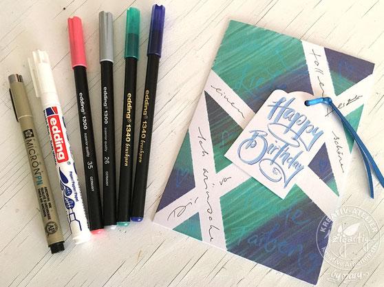 Die Edding Stifte eignen sich hervorragend für die Kartengestaltung. Hier die mit Washi Tape und Edding Stiften gestaltete Karte