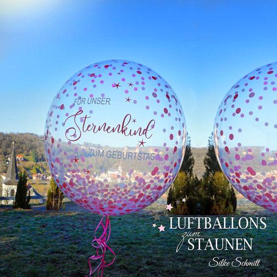 Bubble Ballon Luftballon Geschenk beschriftet durchsichtig  für unser Sternenkind Helium zum Geburtstag Heliumballon personalisiert individuell Namen Versand Wunschbubble Herz Baby Geburt  Mädchen Junge  Frau Mann Mitbringsel rosa Du bist mein Schatz