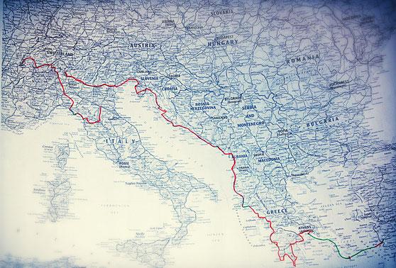 Carte europe du trajet à vélo effectué par Laetitia
