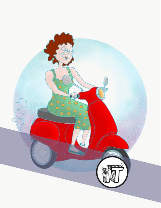 Illustration Jeune Femme sur Scooter