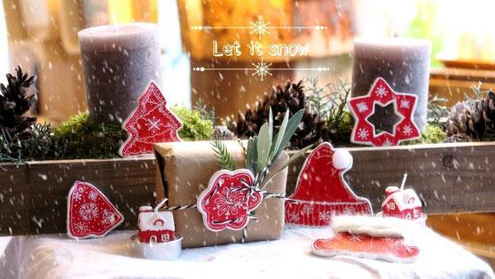 clay christmas, diy ideen modelliermasse, anhänger selbermachen weihnachten,