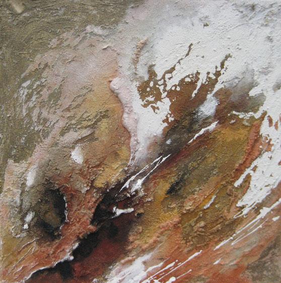 Aus der Reihe: Atelier Erde 70 x 70 cm, Spachtelmassen, Acrylfarbe, Pigmente, Tuschen, Lack