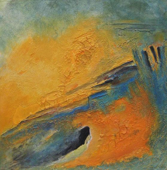 ohne Titel, 70 x 70 cm, Spachtelmasse, Acrylfarbe, Fundstücke