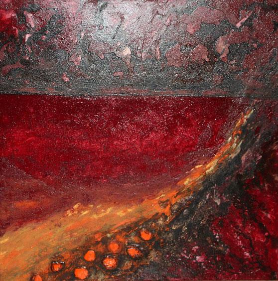 Am Strand, 70 x 70 cm, Spachtelmasse, Pigmente, Acrylfarbe, Tusche