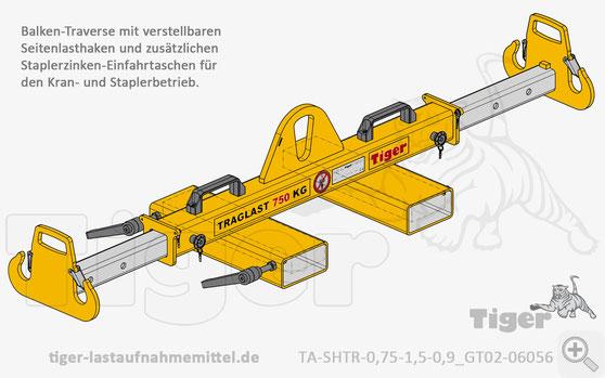 Verstellbare Lasttraverse für Kran- und Staplerbetrieb