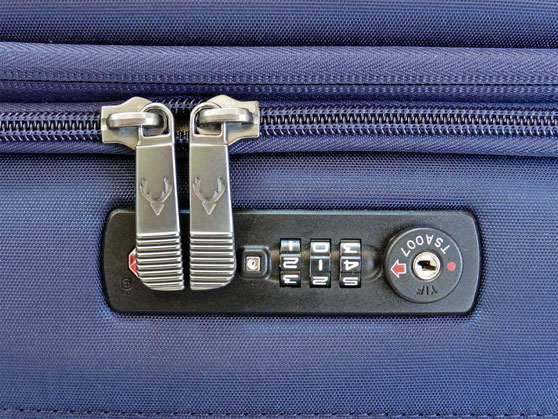 An integrated TSA combination lock on a trolley bag