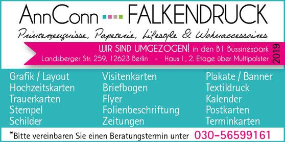 AnnConn-Falkendruck ehmals Kaulsdorfer Falkendruck, Druckerei in Mahlsdorf, Kaulsdorf, Hellersdorf und Köpenick