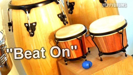 Schlagzeug & Percussion lernen - Trio-Anwendungsbeispiel für Bongos, Drums & Shaker