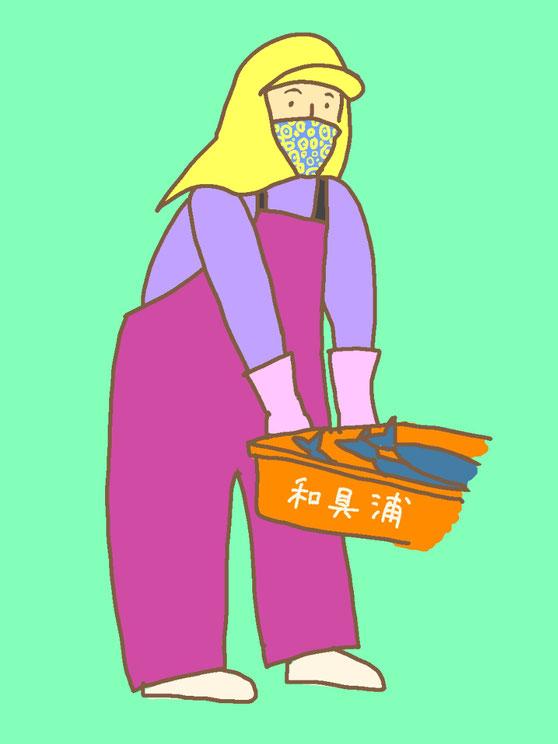 カッパを着た女性のイラスト