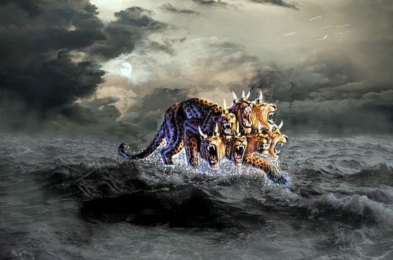 La bête d'Ap 13 qui monte de la mer a sur ses têtes des noms blasphématoires. La bête écarlate d'Ap 17, elle, en est couverte. Dans les 2 cas, les noms blasphématoires désignent des injures, insultes, offenses envers Dieu et ce qui est saint ou sacré.
