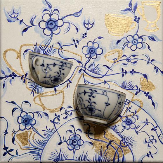 Kaffeezeit blau weiß, Öl auf Leinwand, 30x30cm