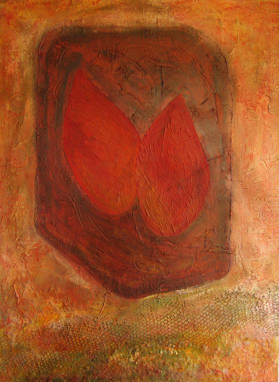 Artigkeit, Claudia Karrasch, Bonn, Acryl, Netz, Spachtelarbeit, auf Leinwand, 90 x 65 cm