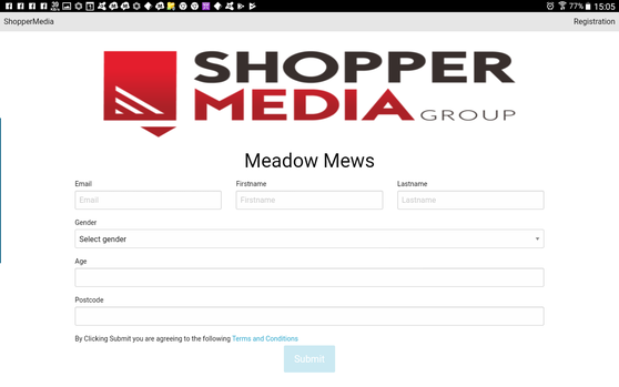 The login webpage at Meadow Mews shopping centre